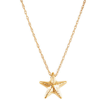 Womens 10K Gold Star Pendant Necklace