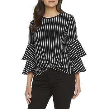 Bold Elements Womens Crew Neck 3/4 Sleeve Blouse