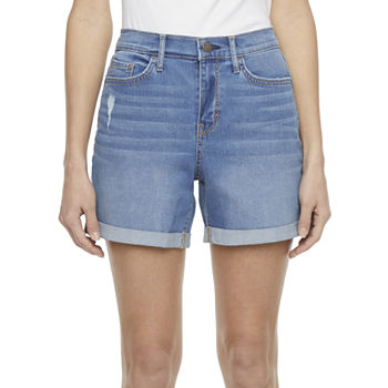 a.n.a. Womens High Rise 5'' Roll Cuff Denim Short