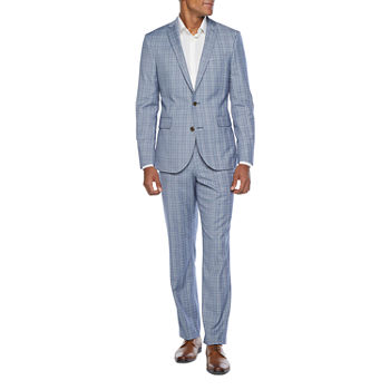JF J. Ferrar Ultra Comfort Blue Plaid Slim Fit Suit Separates
