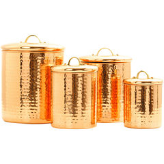 Old Dutch International® 4-pc. Décor Hammered Copper Canister Set