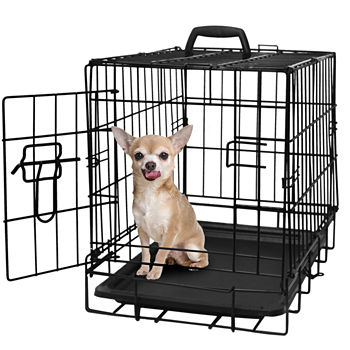 Paws & Pals Heavy Duty Foldable Double-Door Dog Crate with Divider and  Removable ABS Plastic Tray