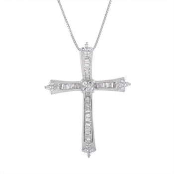 Womens 1/3 CT. T.W. Genuine White Diamond 10K White Gold Cross Pendant Necklace