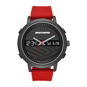 Skechers Lawndale Mens Chronograph Red Strap Watch-Sr5073