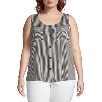 98778913ee33 a.n.a Womens Scoop Neck Sleeveless Tank Top Plus. Add To Cart. New. Black  White Stripe