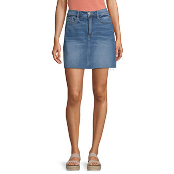 a.n.a Womens Mid Rise Denim Skirt