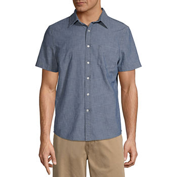 St. John's Bay No Tuck Mens Short Sleeve Button-Front Shirt