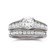 DiamonArt® Cubic Zirconia Bridal Set Sterling Silver