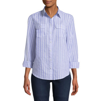 Button Front Shirts Tops For Women Jcpenney
