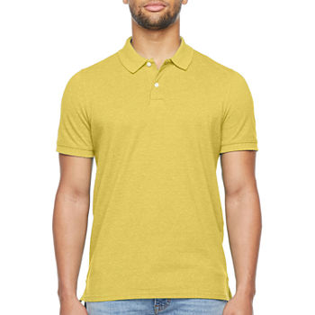 St. John's Bay Heathered Stretch Mens Short Sleeve Polo Shirt