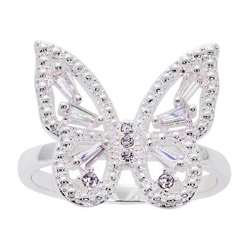 Sparkle Allure Cubic Zirconia Pure Silver Over Brass Butterfly Band