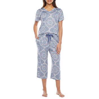 Jaclyn Womens 2-pc. Capri Pajama Set Short Sleeve V-Neck