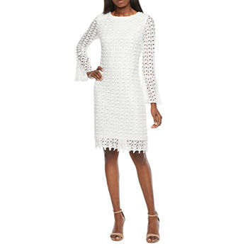 Ronni Nicole Long Sleeve Chevron Lace Sheath Dress