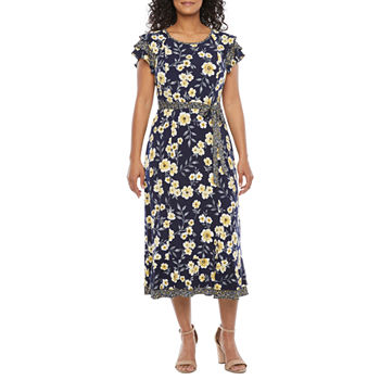Perceptions-Petite Short Sleeve Floral Midi Fit & Flare Dress
