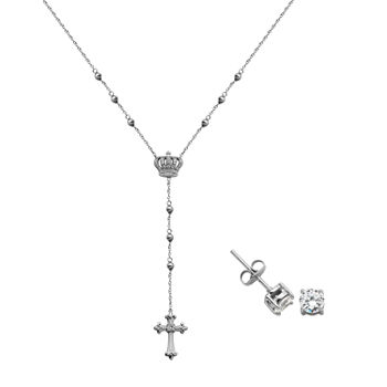 1 1/4 CT. T.W. Lab Created Cubic Zirconia Sterling Silver Cross 2-pc. Jewelry Set