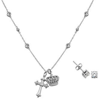 1 5/8 CT. T.W. Lab Created Cubic Zirconia Sterling Silver Cross 2-pc. Jewelry Set