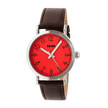 Crayo Pride Mens Brown Leather Strap Watch-Cracr3801
