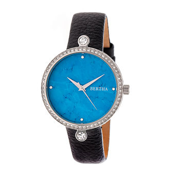 Bertha Frances Womens Black Leather Strap Watch-Bthbr6402