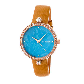 Bertha Frances Womens Brown Leather Strap Watch-Bthbr6405