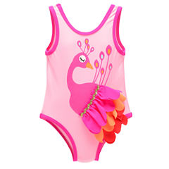 Candlesticks Peacock One Piece Swimsuit Baby Girls