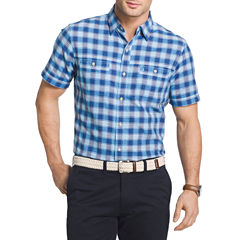IZOD Short Sleeve Check Chambray Button-Front