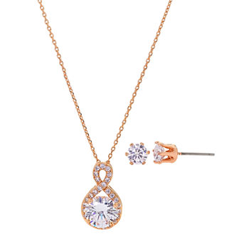 Sparkle Allure 2-pc. Cubic Zirconia 18K Rose Gold Over Brass Round Jewelry Set