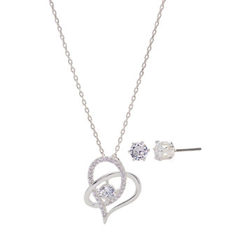 Sparkle Allure 2-pc. Cubic Zirconia Pure Silver Over Brass Heart Jewelry Set