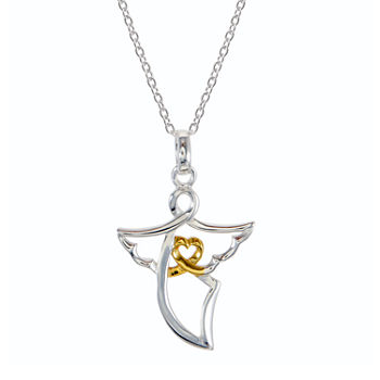 Footnotes Angel Sterling Silver 18 Inch Cable Angel Pendant Necklace