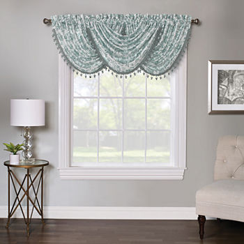 Regal Home Regency Watercolor Floral Rod-Pocket Waterfall Valance