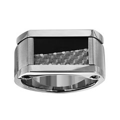 Mens 11mm Gray & Black IP Stainless Steel Ring