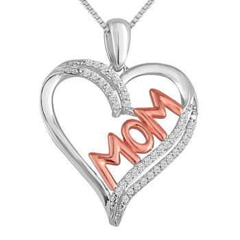 "1/10 CT. T.W. Diamond ""MOM"" Heart Necklace in Sterling Silver With 14K Rose Gold Accent"