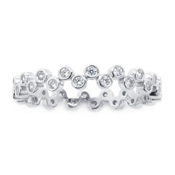 Silver Treasures Cubic Zirconia Sterling Silver Band