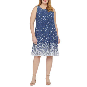 Perceptions-Plus Sleeveless Dots Shift Dress