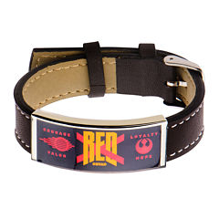 Star Wars® Stainless Steel & Leather Episode VII Red X ID Bracelet