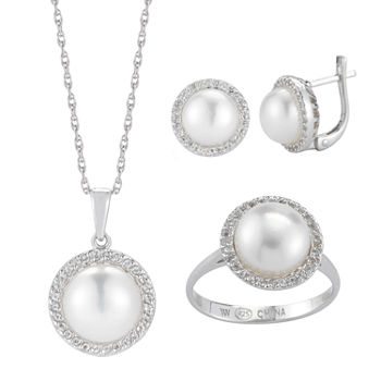 Cultured Freshwater Pearl and Genuine Topaz 3-pc. Jewelry Set