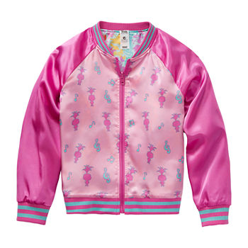 Reversible Little & Big Girls Trolls Lightweight Bomber Jacket