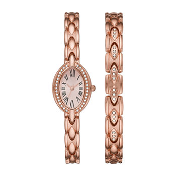 Geneva Womens Crystal Accent Rose Goldtone 2-pc. Watch Boxed Set-Fmdjset053