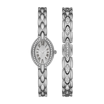 Geneva Womens Crystal Accent Silver Tone 2-pc. Watch Boxed Set-Fmdjset054