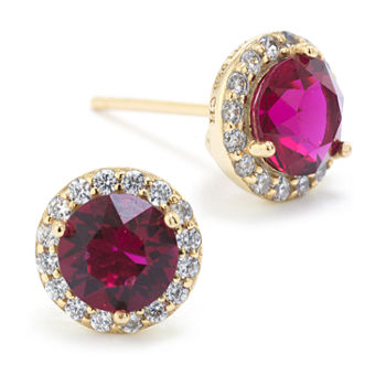 Sparkle Allure Austrian Crystal Halo Pure Silver Over Brass 8.5mm Round Stud Earrings