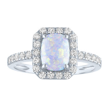 Limited Time Special!! Womens Lab Created White Opal Sterling Silver Cocktail Ring
