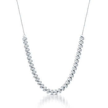 Womens 1/2 CT. T.W. Genuine White Diamond Sterling Silver Tennis Necklaces