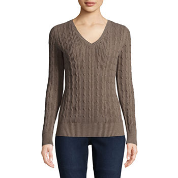 Pullover Sweaters Brown For Women Jcpenney