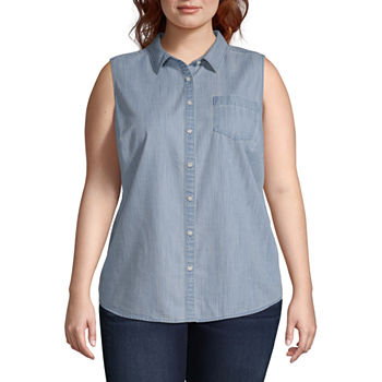 Plus Size Button-front Shirts Tops for Women - JCPenney