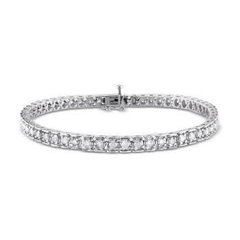 3 CT. T.W. Genuine White Diamond Sterling Silver 7.25 Inch Tennis Bracelet
