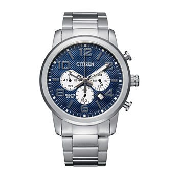 Citizen Quartz Mens Chronograph Silver Tone Stainless Steel Bracelet Watch - An8050-51m