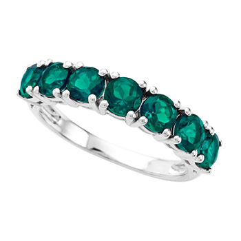 Womens Lab Created Green Emerald Sterling Silver Stackable Ring