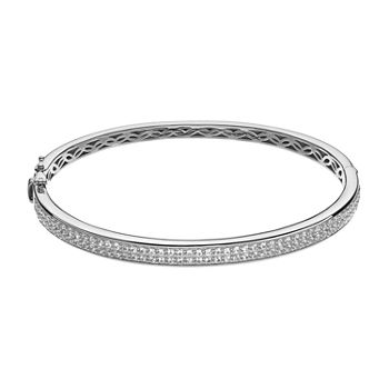 Lab Created White Sapphire Sterling Silver Bangle Bracelet