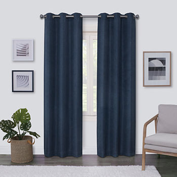 Regal Home Surfaces Solid Light-Filtering Grommet-Top Single Curtain Panel