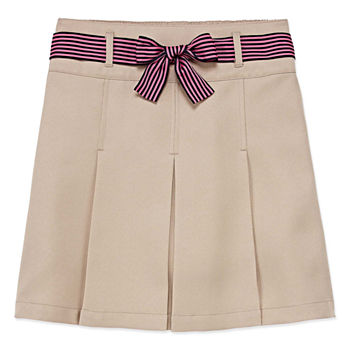 Izod Exclusive Girls Elastic Waist Belted Scooter Skirt