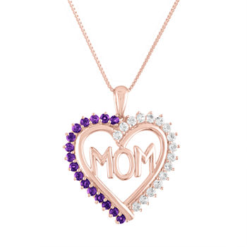 """Mom"" Womens Lab Created Purple Amethyst 14K Rose Gold Over Silver Heart Pendant Necklace"